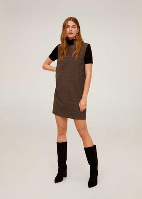 MANGO Checked pinafore dress brown - 4 - Women