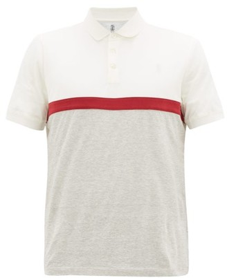 Brunello Cucinelli Striped Cotton-blend Jersey Polo Shirt - White Multi