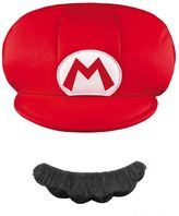 Youth Super Mario Brothers Mario Hat & Mustache Costume Accessories Set