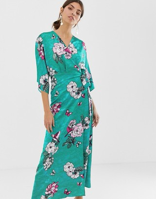 Liquorish kimono sleeve midi dress in green floral print