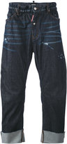 DSQUARED2 distressed loose fit jeans - men - Cotton/Calf Leather/Polyester/Spandex/Elastane - 44