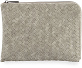 Neiman Marcus Woven Reptile Faux-Leather Pouch, Gray