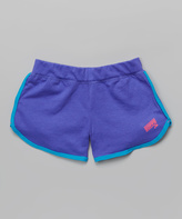 Soffe Neon Purple & Atomic Blue Post-Game Shorts - Girls