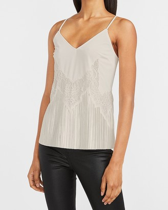 Express Satin Lace Pieced Pleated Cami