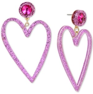 Betsey Johnson Gold-Tone Crystal & Glitter Heart Drop Earrings