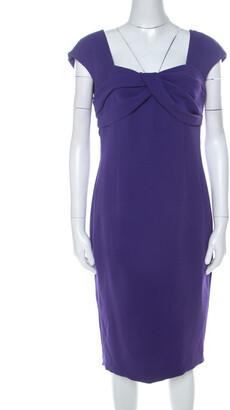 Escada Purple Crepe Pleated Bodice Detail Sleeveless Danicara Dress M