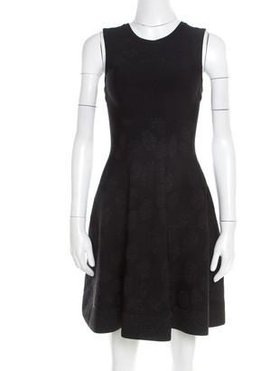 Issa Black Stretch Lurex Jacquard Knit Fit and Flare Dress S