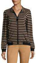 Lafayette 148 New York Striped Bomber Jacket