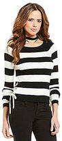 Gianni Bini Page Side Lace-Up Long Sleeve Striped Pullover Rib Sweater