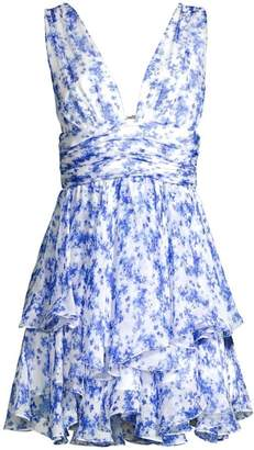 Caroline Constas Paros Floral Tiered Mini Dress