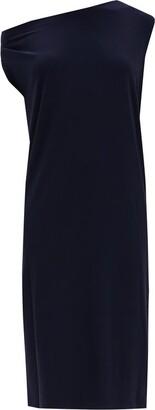 Norma Kamali Asymmetric Dropped-shoulder Jersey Dress - Navy