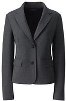 Lands' End Women's Plus Size Two Button Washable Wool Blazer-True Navy