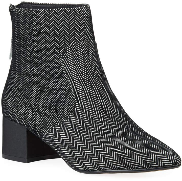 Karl Lagerfeld Paris Maude Chevron Suede Block-Heel Booties