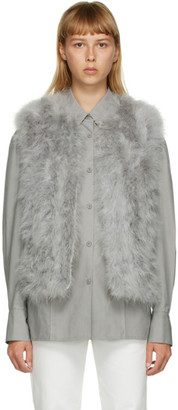 Yves Salomon Grey Feather Cropped Vest