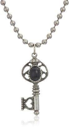 1928 Jewelry Antiqued Pewter Tone Black Center Key Charm Pendant Necklace 24""