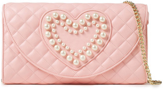 Boutique Moschino Faux Pearl-embellished Quilted Leather Shoulder Bag