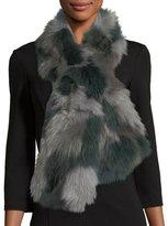 Pologeorgis Fur Pull-Through Scarf, Gray Pattern