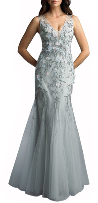 Basix II 3-D Embellished Sleeveless Godet Sheath Gown