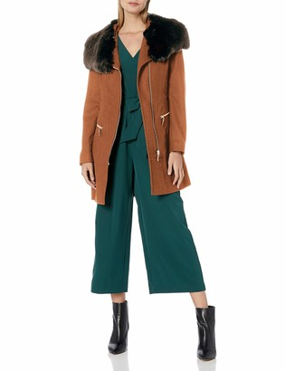 Via Spiga Women's Asym Wool Coat with Oversized Faux Fur Collar