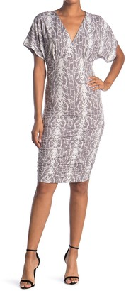 Socialite Dolman Short Sleeve V-Neck Ruched Dress