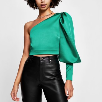 River Island Womens Green puff sleeve one shoulder top