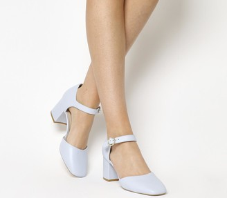 Office Milkshake Mary Jane Block Heels Blue Leather
