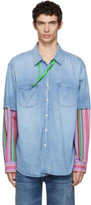 Balenciaga Blue Denim Striped Double Sleeve Shirt
