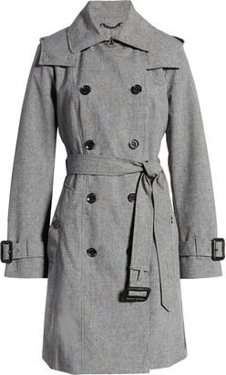 London Fog Double Breasted Hooded Raincoat