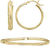 JCPenney FINE JEWELRY 10K Yellow Gold Flex Bangle and 25mm Hoop Earrings Set