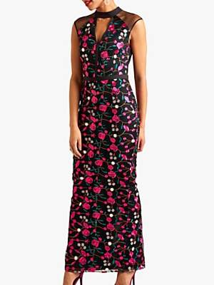 Yumi Embroidered Floral Maxi Dress, Multi
