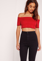 Missguided Bardot Bandage Crop Top Red