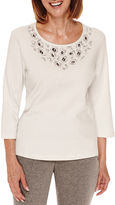 Alfred Dunner Alred Dunner Crescent City 3/4 Sleeve Beaded Yoke T-Shirt - Petite