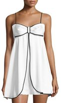 Kate Spade Bow-Front Satin Chemise, White/Black