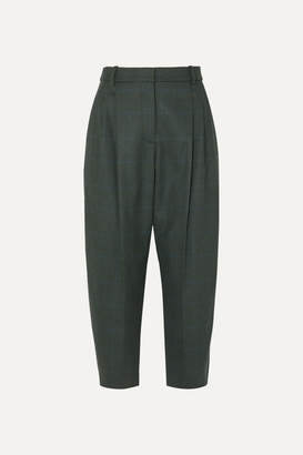 Stella McCartney Cropped Prince Of Wales Checked Wool-blend Pants - Green