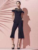 New York & Co. Crochet-Accent Cold-Shoulder Jumpsuit