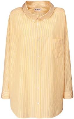 Balenciaga Over Striped Cotton Poplin Shirt W/logo