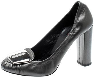Prada Sport Prada Metallic Grey Leather Scrunch Loafer Pumps Size 37.5