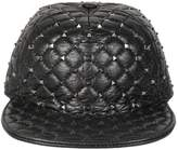 Valentino Spike Quilted Leather Hat