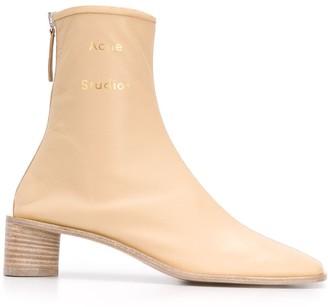 Acne Studios Logo Low-Heel Boots