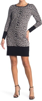 T Tahari Leopard Printed Long Sleeve Shift Sweater Dress