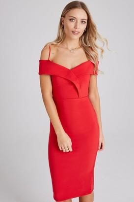 Girls On Film Pose Red Foldover Bardot Midi Dress