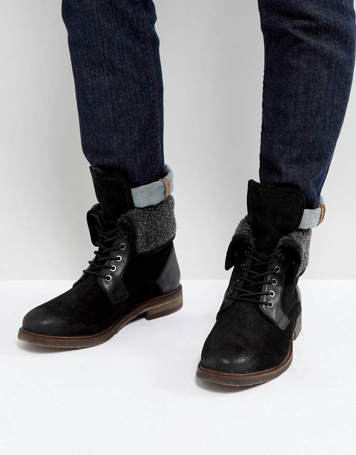 Steve Madden (スティーブ マデン) - Steve Madden Turntup Suede Warm Boots In Black