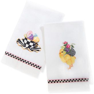 Mackenzie Childs Chicks and Eggs Guest Towels Set of 2