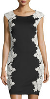 Jax Floral Lace Applique Sheath Dress, Black/Cream