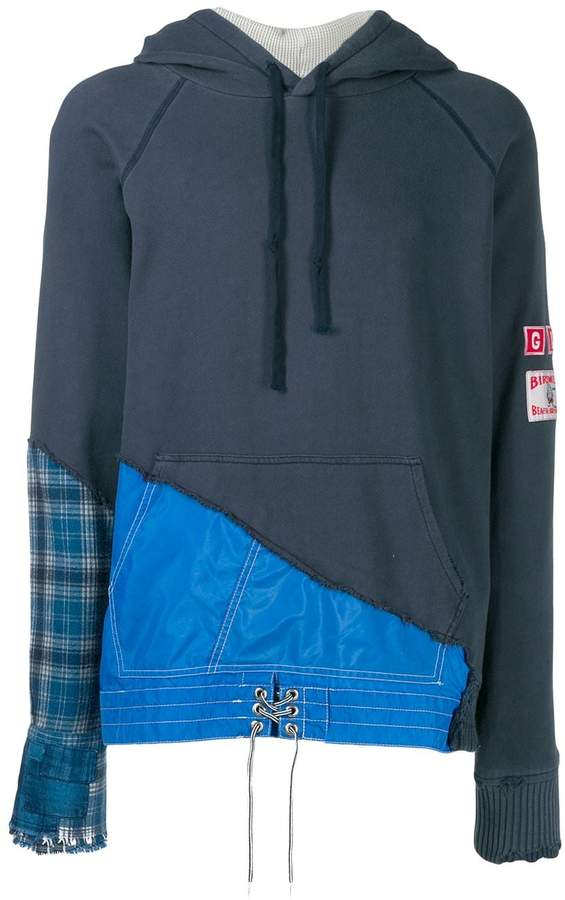 Greg Lauren hybrid patchwork hoodie