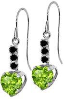 Gem Stone King 1.86 Ct Heart Shape Green Peridot Black Diamond 925 Sterling Silver Earrings