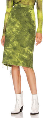 Marques Almeida Marques ' Almeida Pencil Skirt in Lime Tie Dye | FWRD