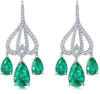 Kwiat 18kt White Gold Diamond Emerald Chandelier Earrings