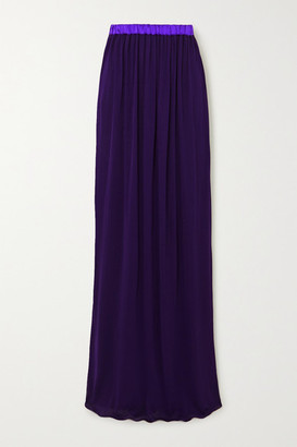 Tom Ford Gathered Two-tone Georgette Maxi Skirt - Purple