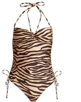 Zimmermann Juniper Tiger-print Ruched Swimsuit - Womens - Brown Multi